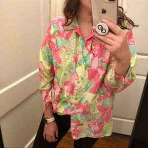 Lilly Pulitzer bring floral button down shirt L